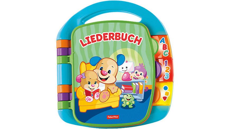 Fisher-Price Lernspaß Liederbuch (blau), Baby-Spielzeug mit Musik, Lernspielzeug