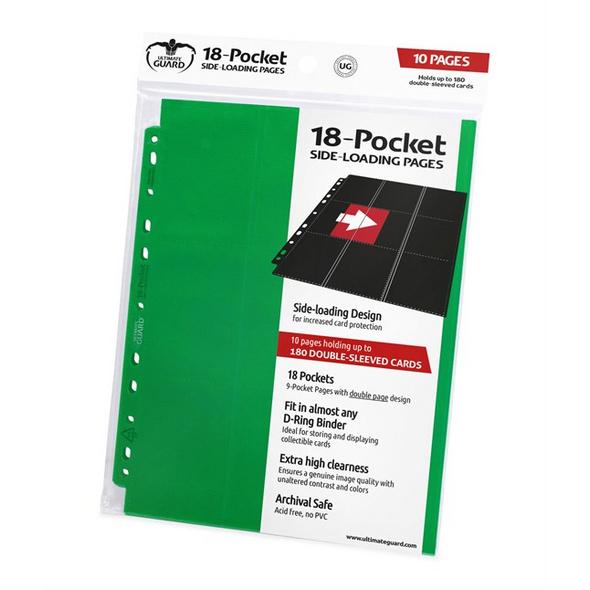 Ultimate Guard: Ordnerseiten mit 18-Taschen Side-Loading Grün