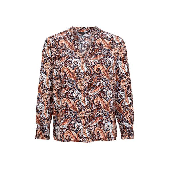High Neck-Bluse mit Rüschenkragen - Crêpe-Bluse