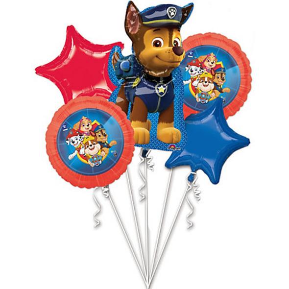 "Folienballon-Bouquet ""Paw Patrol 2018"", 5 Stück"