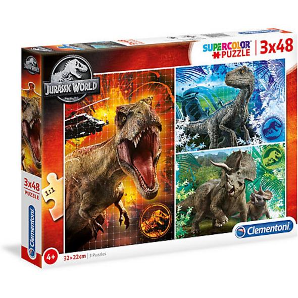 Puzzle 3 x 48 Teile - Supercolor - Jurassic World