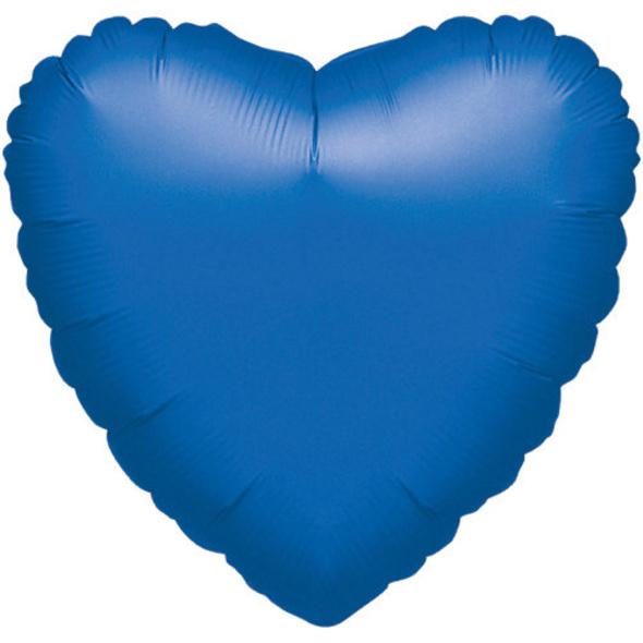 "Folienballon Herz ""Blau Metallic"", 43cm"