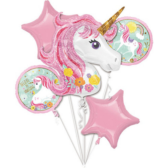 Folienballon-Bouquet Einhorn Magical Unicorn, 5 Stück