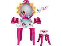 Theo Klein 5328 Barbie Schminktisch in pink für Kinder ab 3 Jahren mit Hocker, inkl. Zubehör