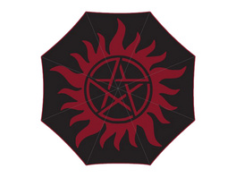 Supernatural - Anti Possession Symbol Schirm mit Aqua Effekt