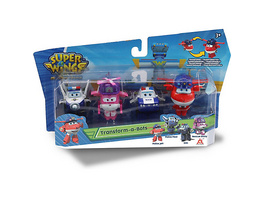 Super Wings Transform-a-Bots 4er Set: Police Jett, Paul, Kim ,Rescue Dizzy