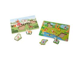 myToys Holz-Puzzle 2er Set, Bauernhof/Dschungel