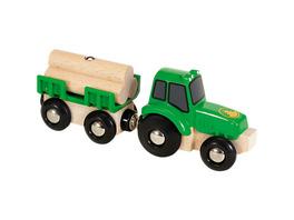 Traktor mit Holz-Anhänger