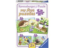 4-tlg. Puzzle Set, 2,4,6+8 Teile, 21x15 cmSüße Gartenbewohner