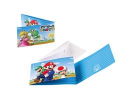 Einladungskarten inkl. Umschläge Super Mario, 8 Stück